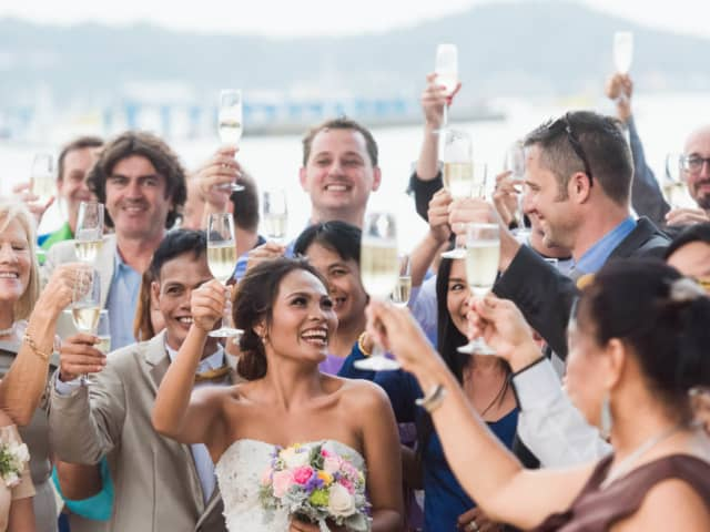 Champagne Toast Beach Wedding Phuket Thailand